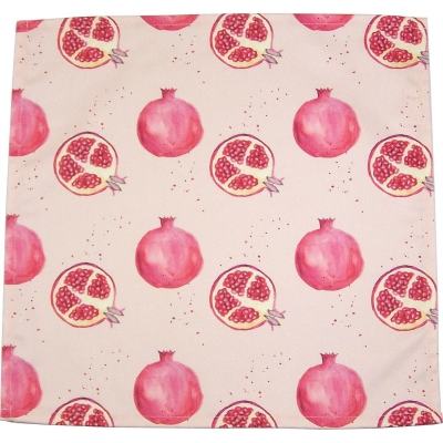 Pomegranate napkin  Pomegranate print Luxury Napkin,   Pink,   38cm x 38cm,   100% Cotton,   Hand Painted Design,   Made in Great Britain,