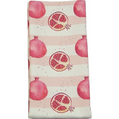 Pomegranate Stripe Tea Towel  Pomegranate print Luxury Tea Towel -   Pink and White -   50cm x 70cm -   100% Cotton -   Hand Painted Design -   Made in Great Britain -