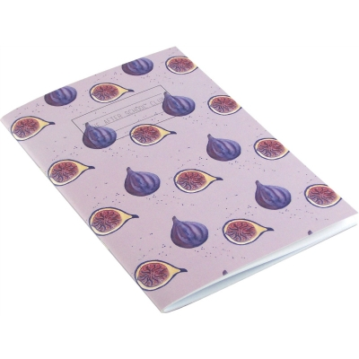 Fig Stripe Notebook  Fig print notebook,   Purple and White,   A5,   Paperback Stapled,   Lined Paper Pages,   Cover - 100% Recycled Fibres,   Hand Painted Design,   Made in Great Britain,