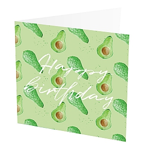 "Thank You Card Avocado  Thank You Card with Avocado design,   Green and White,   Blank inside,   6""x6"",   100% recycled card,   Brown envelope included,   Hand painted design,   Made in Great Britain,"
